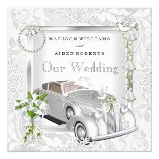 Elegant Wedding White Gold Vintage Car Damask 2 Custom Announcement
