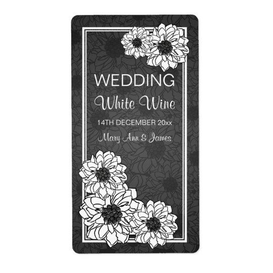 Elegant Wedding Wine Label Dahlia Floral Black Shipping Label