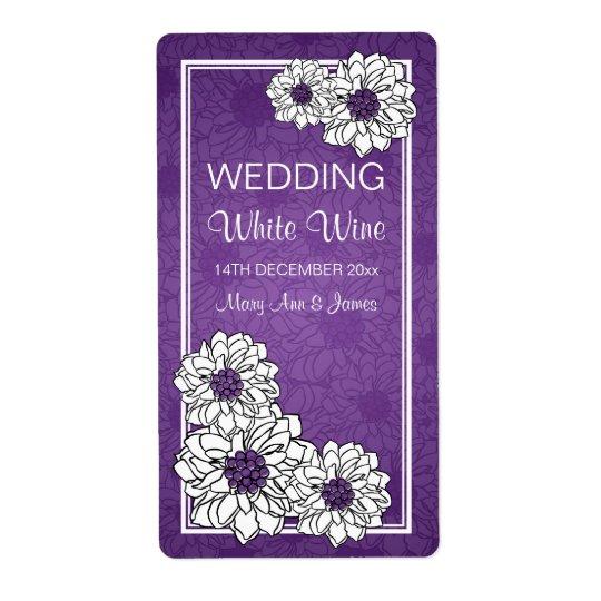Elegant Wedding Wine Label Dahlia Floral Purple