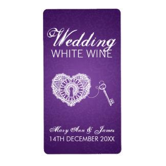Elegant Wedding Wine Label Key To My Heart Purple Shipping Label