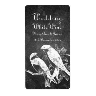 Elegant Wedding Wine Label Love Birds Black Shipping Label