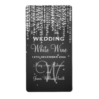 Elegant Wedding Wine Label Night Dazzle Black Shipping Label