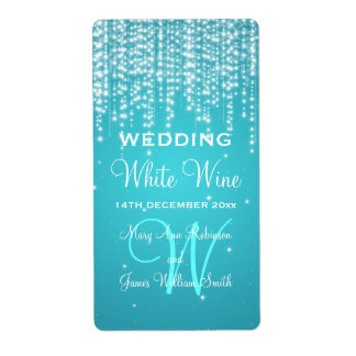 Elegant Wedding Wine Label Night Dazzle Blue Shipping Label