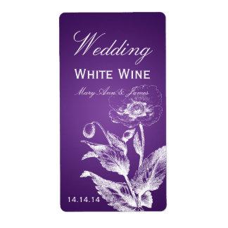 Elegant Wedding Wine Label Poppy Purple