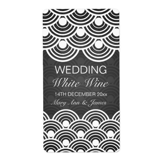 Elegant Wedding Wine Label Scalloped Pattern Black
