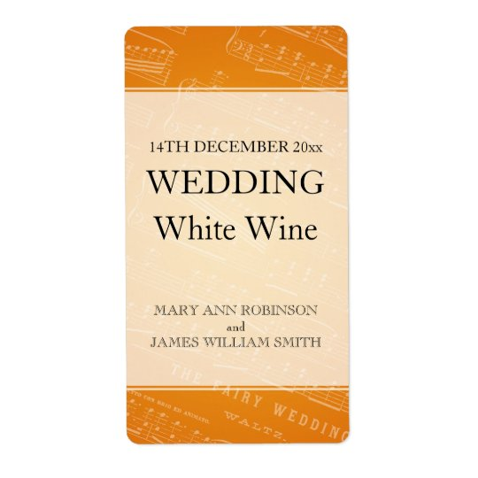 Elegant Wedding Wine Label Sheet Music Orange