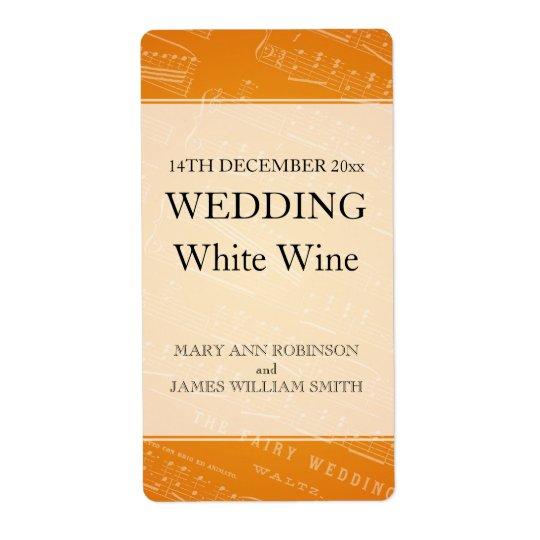 Elegant Wedding Wine Label Sheet Music Orange Shipping Label