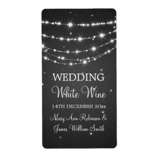 Elegant Wedding Wine Label Sparkling Chain Black Shipping Label