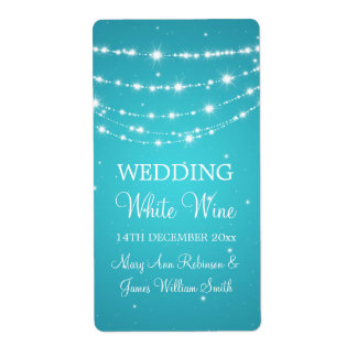 Elegant Wedding Wine Label Sparkling Chain Blue Shipping Label