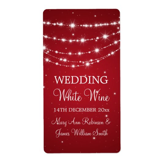 Elegant Wedding Wine Label Sparkling Chain Red