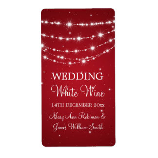 Elegant Wedding Wine Label Sparkling Chain Red Shipping Label