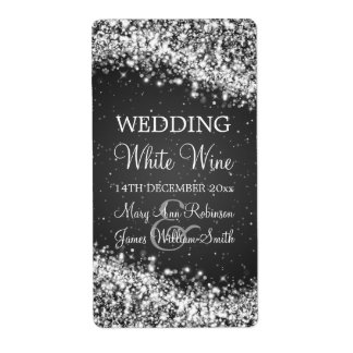 Elegant Wedding Wine Label Sparkling Wave Black Shipping Label