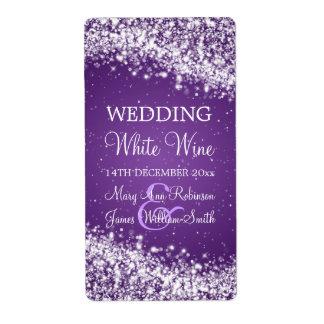 Elegant Wedding Wine Label Sparkling Wave Purple Shipping Label