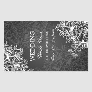 Elegant Wedding Wine Label Vintage Swirls Black