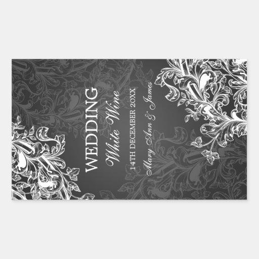 Elegant Wedding Wine Label Vintage Swirls Black Sticker