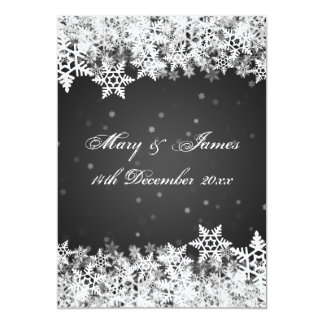 "Elegant Wedding Winter Snowflakes Black 5"" X 7"" Invitation Card"
