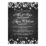 Elegant Wedding Winter Sparkle Black Invitation