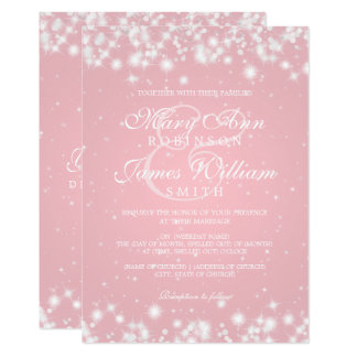 "Elegant Wedding Winter Sparkle Blush 5"" X 7"" Invitation Card"