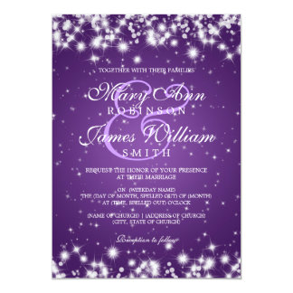 "Elegant Wedding Winter Sparkle Purple 5"" X 7"" Invitation Card"