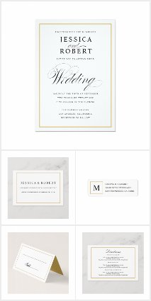 Elegant Wedding with Solid Gold Border