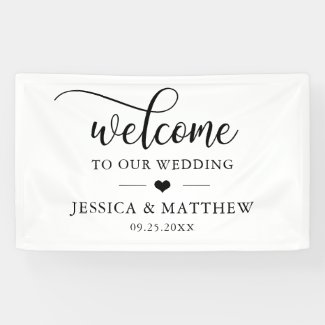Elegant Welcome to our Wedding Heart WELCOME Banner