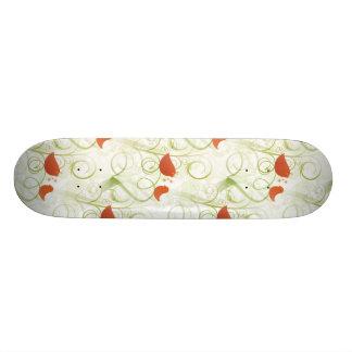 Elegant Whimsical Orange Birds on Green Branches Skate Board Decks
