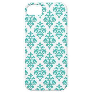 Elegant White and Aqua Damask iPhone 5 Case