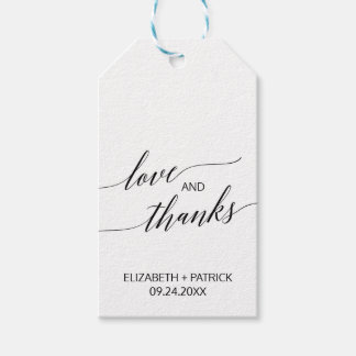 Elegant White and Black Calligraphy Love & Thanks Pack Of Gift Tags