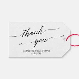 Elegant White and Black Calligraphy Thank You Pack Of Gift Tags