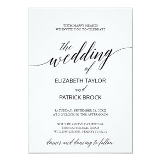 Elegant White and Black Calligraphy Wedding Card