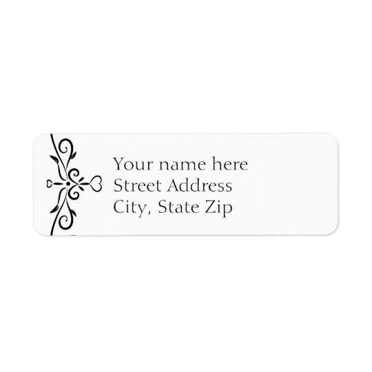 Elegant White and Black Heart Flourish Return Address Label