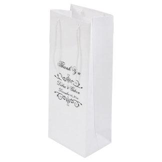 Elegant White and Black Heart Flourish Thank You Wine Gift Bag