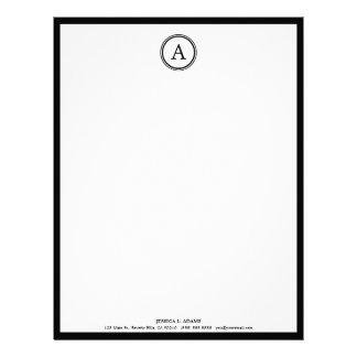 Elegant White and Black Monogram Letterhead