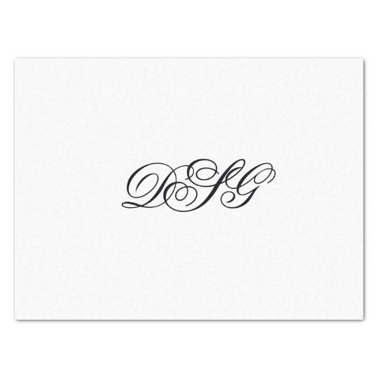 Elegant White and Black Monogram Tissue Paper