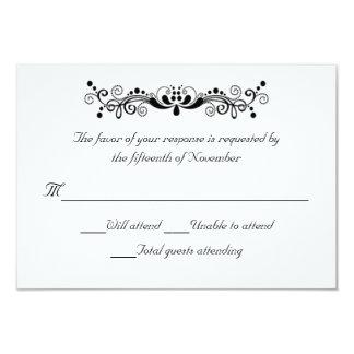 "Elegant White and Black Wedding Response Card 3.5"" X 5"" Invitation Card"