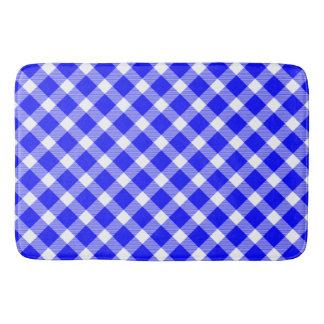 Elegant White And Blue Tartan Pattern Table Lamp Bathroom Mat