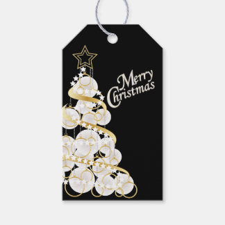 Elegant White and Gold Christmas Tree Gift Tags