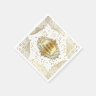 Elegant White and Gold Confetti - Template Paper Napkins
