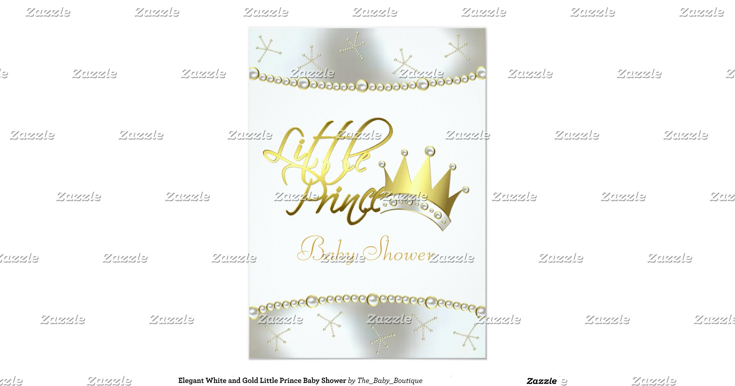 elegant white and gold little prince baby shower 5 x 7 invitation