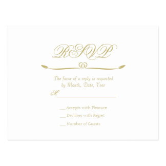 Elegant White and Gold Monogram RSVP Postcard
