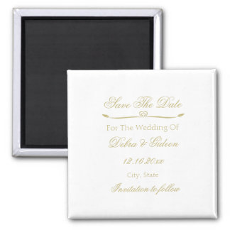 Elegant White and Gold Monogram Save the Date Magnet