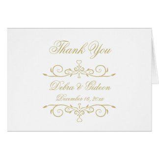 Elegant White and Gold Monogram Thank You Card