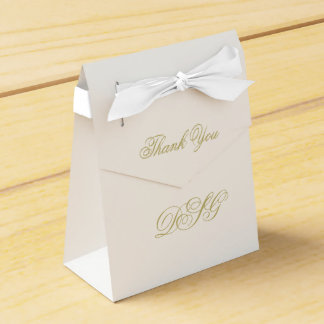 Elegant White and Gold Monogram Thank You Favor Box