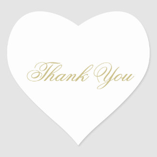 Elegant White and Gold Monogram Thank You Heart Sticker