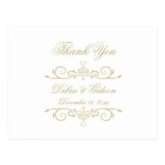 Elegant White and Gold Monogram Thank You Postcard
