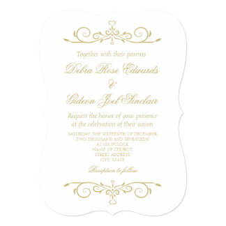 Elegant White and Gold Monogram Wedding Card