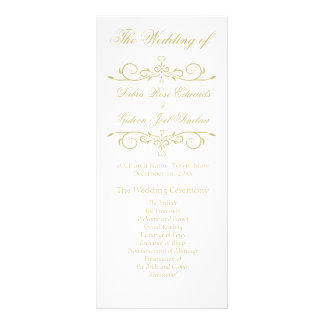 Elegant White and Gold Monogram Wedding Program