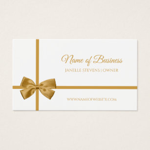 Girly bow business cards business card printing zazzle ca elegant white and gold ribbon gift wrapped bow business card colourmoves