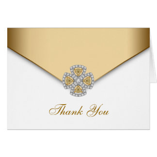 Elegant White and Gold Thank You Note Card