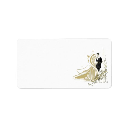Elegant White and Gold Wedding Address Label